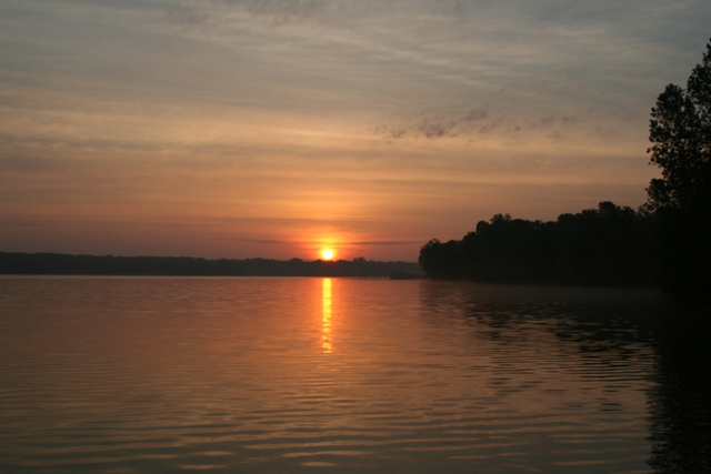 Sunrise on Grand Lake O the Cherokee, Oklahoma Copyright 2014 by R.A. Robbins