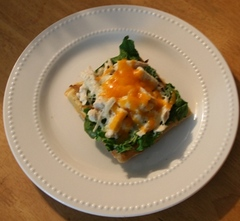 Pizza Waffle with Spinach and Chicken Copyright 2015 by R.A. Robbins